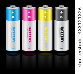 two tone colorful battery set... | Shutterstock .eps vector #433121326