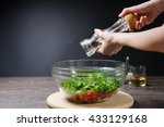 young woman grinding pepper to... | Shutterstock . vector #433129168