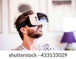 man wearing virtual reality... | Shutterstock . vector #433133029