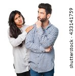 young couple thinking about... | Shutterstock . vector #433141759