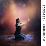 a woman prays for rain in the... | Shutterstock . vector #433143328