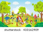 kids playing in the park vector ... | Shutterstock .eps vector #433162909