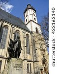 Small photo of LEIPZIG, GERMANY - APRIL 8, 2016. View of the Thomaskirche in Leipzig, with statue of Johann Sebastian Bach in the foreground.