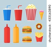 set of fast food elements in... | Shutterstock .eps vector #433163890