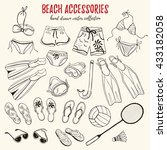 hand drawn swimsuits  flippers... | Shutterstock .eps vector #433182058