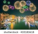 beautiful fireworks under grand ... | Shutterstock . vector #433183618