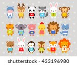 set of vector animals in... | Shutterstock .eps vector #433196980