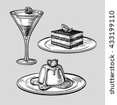 set of desserts. hand drawn... | Shutterstock .eps vector #433199110