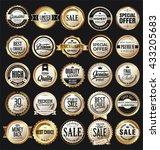 retro vintage golden badges and ... | Shutterstock .eps vector #433205683