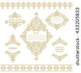 set of line art frames and... | Shutterstock .eps vector #433205833