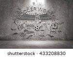 soccer doodle wall   Shutterstock . vector #433208830