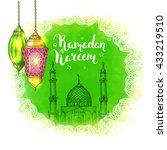 colorful shiny arabic lanterns... | Shutterstock .eps vector #433219510