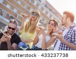 group of friends taking their... | Shutterstock . vector #433237738