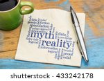 Small photo of myth versus reality word cloud - handwriting on a napkin with cup of coffee