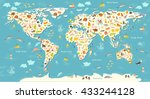 Постер, плакат: Animals world map Beautiful