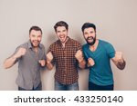 yeah  three  handsome screaming ... | Shutterstock . vector #433250140