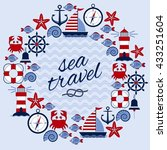 round frame with marine theme.... | Shutterstock .eps vector #433251604