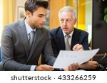 businessman showing a document... | Shutterstock . vector #433266259