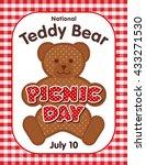 teddy bear picnic day poster ... | Shutterstock .eps vector #433271530