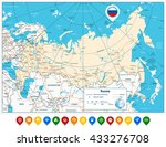 high detailed russia road map... | Shutterstock .eps vector #433276708