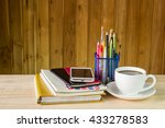 note book smart phone coffee... | Shutterstock . vector #433278583