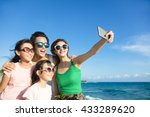 happy family taking a selfie at ... | Shutterstock . vector #433289620