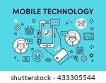 hand holding mobile phone.... | Shutterstock .eps vector #433305544