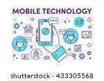 hand holding mobile phone.... | Shutterstock .eps vector #433305568
