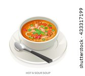 hot and sour soup bowl asian... | Shutterstock .eps vector #433317199