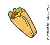burrito icon isolated on white... | Shutterstock .eps vector #433327930