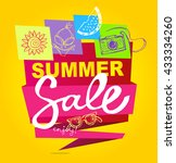 summer sale vector banner. ... | Shutterstock .eps vector #433334260