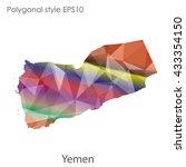 yemen map in geometric...   Shutterstock .eps vector #433354150
