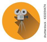 retro cinema camera icon. flat...