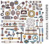 doodle parts of machinery and... | Shutterstock .eps vector #433356898