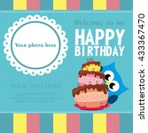 happy birthday card design.... | Shutterstock .eps vector #433367470