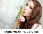 beautiful smiling woman with... | Shutterstock . vector #433379488