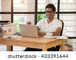 young indian man celebrating...   Shutterstock . vector #433391644