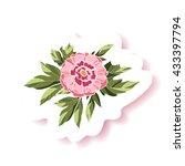 vector floral sticker. vector... | Shutterstock .eps vector #433397794