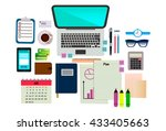 set of business tools. flat lay.... | Shutterstock .eps vector #433405663