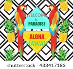 parrot  exotic flowers and... | Shutterstock .eps vector #433417183
