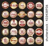retro vintage golden badges and ... | Shutterstock .eps vector #433438936