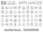 set vector line icons in flat... | Shutterstock .eps vector #433460968