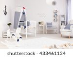 spacious baby room with simple... | Shutterstock . vector #433461124