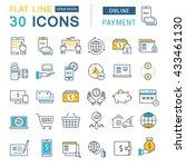 set vector line icons in flat... | Shutterstock .eps vector #433461130