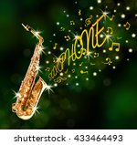 saxophone and notes coming out... | Shutterstock . vector #433464493