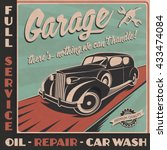 garage sign in retro style.... | Shutterstock .eps vector #433474084