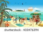 sea landscape summer beach.... | Shutterstock .eps vector #433476394