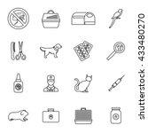 veterinary icons set  thin line ... | Shutterstock . vector #433480270