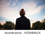the silhouette of a young woman ... | Shutterstock . vector #433484614