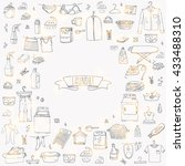 hand drawn doodle laundry set... | Shutterstock .eps vector #433488310